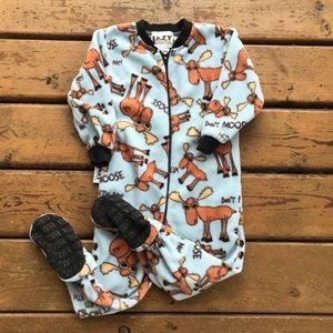 3/$30 - Lazy One Blue Moose Footeez Fleece Pajamas - Size 3T